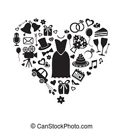 Wedding icons - Set of black silhouette wedding icons inside...