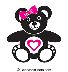 Teddy bear - Cute black teddy bear girl icon with heart on a...