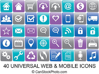 web icons - 40 colored universal original icons for web and...