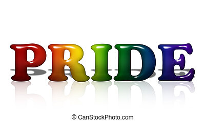 LGBT Pride - Word Pride in 3D LGBT flag colors isolated on...