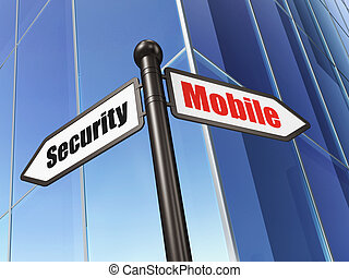 Privacy concept: Mobile Security on Building background