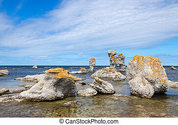 Limestone formations on the Swedish coastline - Limestone...