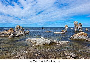 Rocky coastline in Gotland, Sweden - Rocky coastline, Fårö...