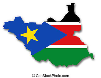 Map and flag of South Sudan - A 2D illustration of a map...