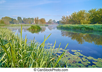 Landscape with The Narew River. - Beautiful landscape with...