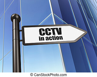 Security concept: CCTV In action on Building background