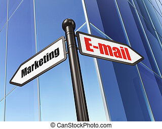 Marketing concept: E-mail Marketing on Building background