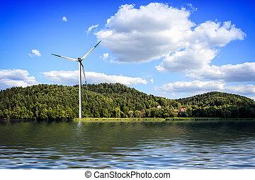 granja, isla, viento