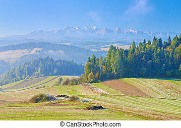 View from Spisz to The Tatra Mountains. Morning landscape....