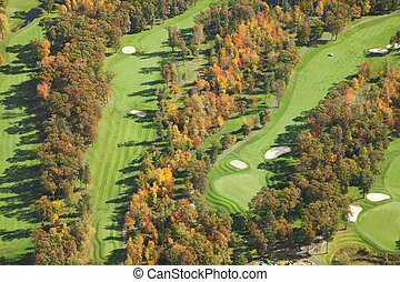 Aerial view of golf course in autumn
