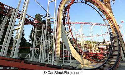 roller coaster at amusement park