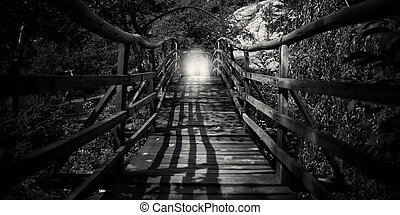 abstract bw wooden bridge - abstract spooky wooden bridge...