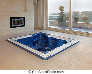 Floor hot tub - Large hot tub built in flor of room interior
