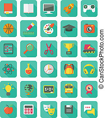 Flat Education and Leisure Icons - Set of 30 modern flat...