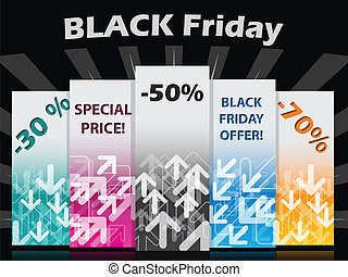 Black friday label set with discounts and bursting...