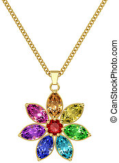 Gold pendant with colorful gemstones on chain isolated on white background