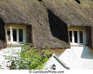 Under the Thatched Roof - A thatched rood with two windows...