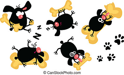gluttonous puppies - Vector set of funny gluttonous puppies