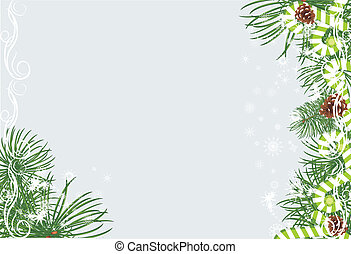 Christmas fir tree with pine cones and candy canes on the...