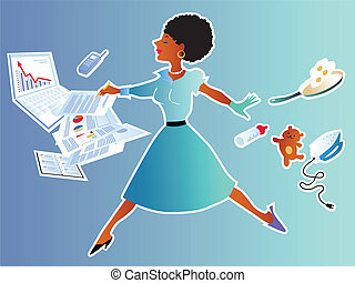 Balancing career and family - Pretty black woman leaping...