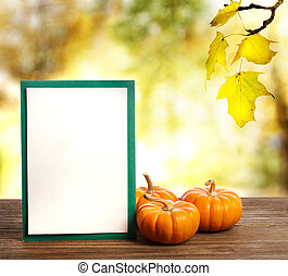 Greeting card with small pumpkins