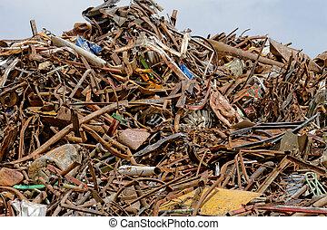 scrap metal processing industry, stacked metal