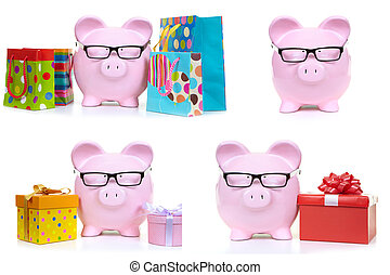Pink pig and multicolored bags - The pink pig and...