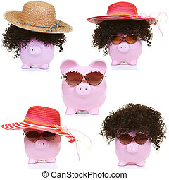 Pink pig and and sun bonnet - The fashionable pink pig on a...