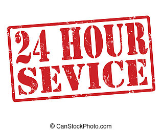 24 hour service stamp - Grunge stamp with the words 24 hour...