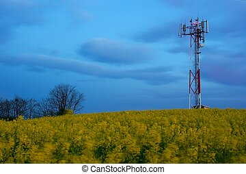 Transmitter - GSM transmitter station in the evening on a...