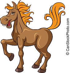 Cartoon horse, vector illustration
