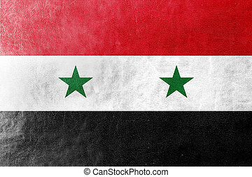 Syria Flag painted on leather texture