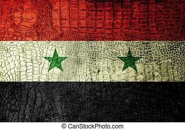 Syria Flag painted on luxury crocodile texture
