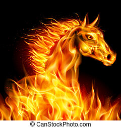Fire horse - Head of horse in fire on black background