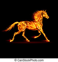 Fire horse. - Fire horse in motion on black background.