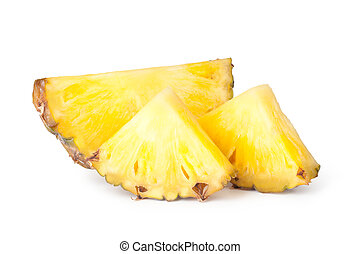 Pineapple slices isolated on white background