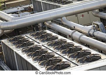 ar, esfriando, Industrial, sistema, ventiladores