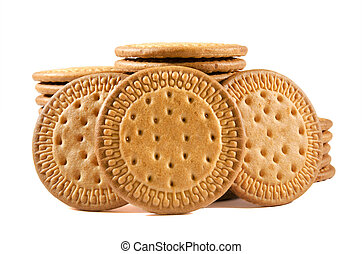 Group of biscuits on white isolated background