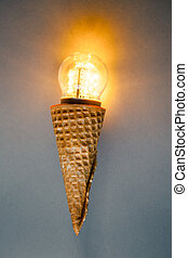 led lamp in ice cream cone, innovation concept