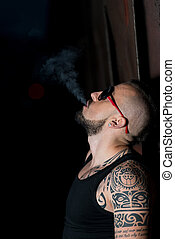 Dangerous Man With Cigare Isolated On Black - Man Smoking A...