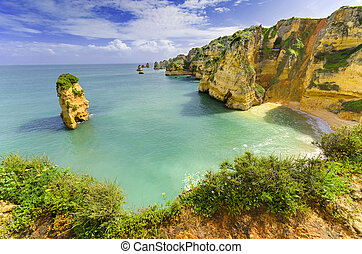 Idyllic beach landscape at Lagos, Algarve, Portugal