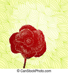 Vector card with hand drawn poppy on patterned wavy background