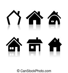 House icons - Set of 6 house icon variations