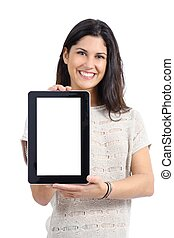 Attractive woman showing a big blank tablet screen isolated...