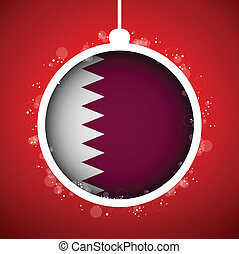 Merry Christmas Red Ball with Flag Qatar - Vector - Merry...