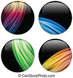 Glass Circle Button Colorful Neon Waves - Vector - Glass...