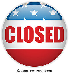 United States Shutdown Government Button - Vector - United...