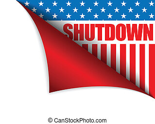 Shutdown Closed United States of America Page Corner -...