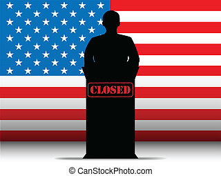Vector - United States of America  Shutdown Closed Speech Tribune Silhouette with Flag Background