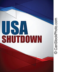 Shutdown Closed United States of America Background - Vector...